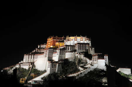 Night scenes of the famous historic Potala Palace in Lhasa Tibet
