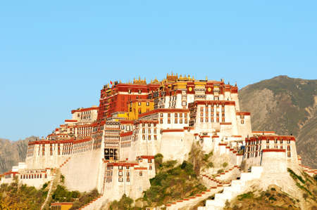 Landmark of the famous historic Potala Palace in Lhasa Tibet at sunrise