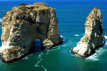 lebanon: Landscape of the famous site of Pigeon Rocks in Beirut,Lebanon
