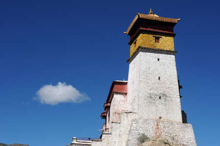 Landmark of a famous ancient Tibetan castle on the top of a hill against blue sky Stock Photo - 13491674
