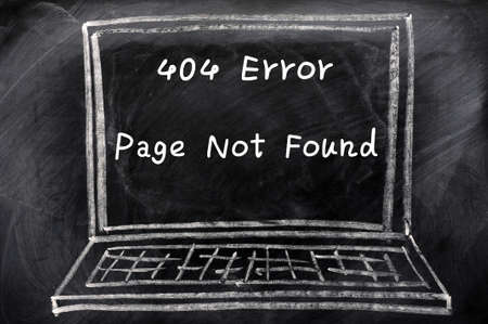 Concept of Page not found error drawn with chalk on a blackboard Stock Photo - 13542999