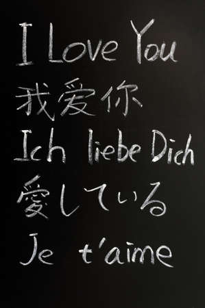 I love you - written with chalk in various languages on a blackboard photo