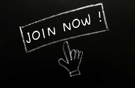 Join now - button with a cursor hand drawn in chalk on a blackboard