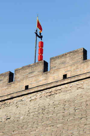 fortify: Landmark details of the historic city wall of Xian, China