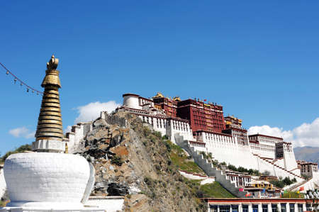 buddhist structures: Landmark of the famous Potala Palace in Lhasa Tibet