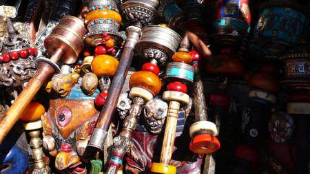 Copper Tibetan prayer wheels,used as buddhist instrument or souvenir   photo