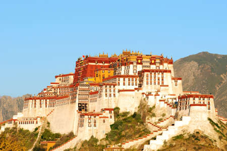 potala: Landmark of the famous Potala Palace in Lhasa Tibet