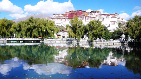 Landmark of the famous Potala Palace in Lhasa Tibet in a sunny day
