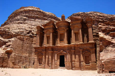 Famous site of Petra treasury in Jordan