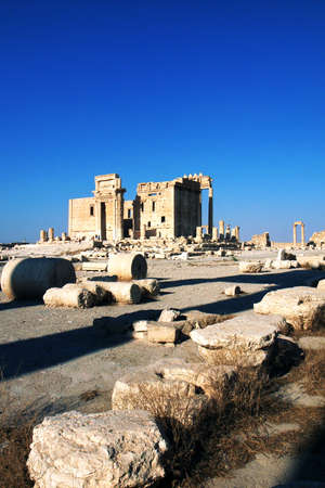 Relics Palmyra in Syria against blue sky. Ancient Roman time town in Palmyra (Tadmor), Syria. photo
