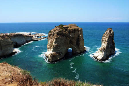 Landscape of the famous site of Pigeon Rocks in Beirut,Lebanon