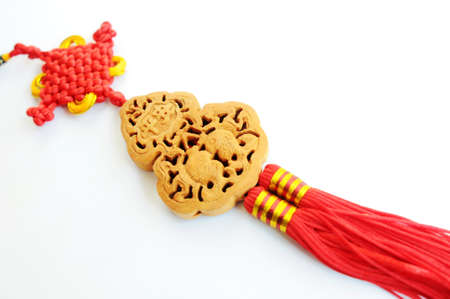 souvenir traditional: Chinese red auspicious knot isolated on a white background