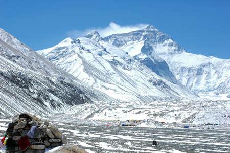 montañas nevadas: Paisaje del Campamento Base del Monte Everest