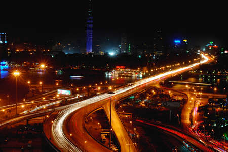 cairo: Night scenes of downtown Cairo, Egypt Editorial