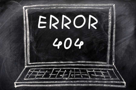 Error 404 concept written with chalk on a blackboard background  Stock Photo - 13787428
