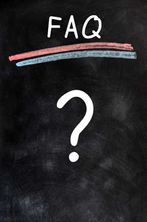 FAQ with a big question mark written on a blackboard background Stock Photo - 13811546
