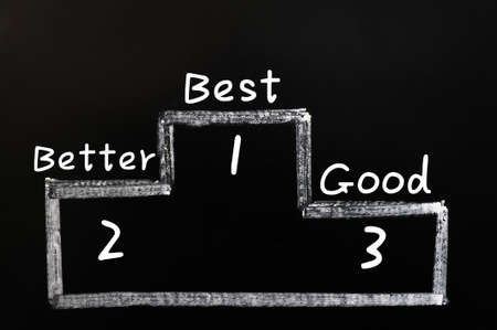 Good,better and best on medals podium drawn with white chalk on a blackboard photo