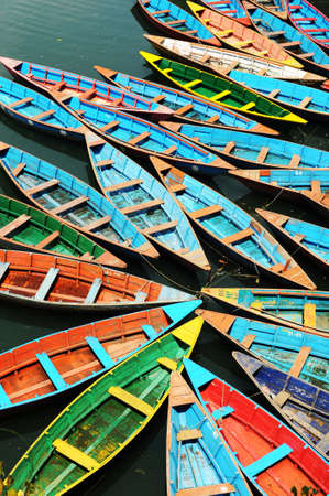 tour boats: Colorful tour boats parking at the lakeside