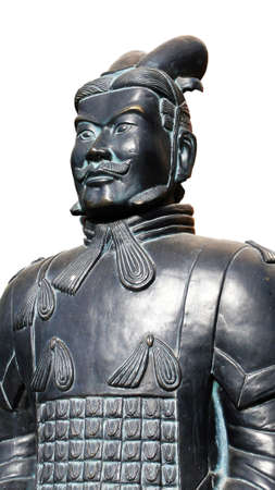 Ancient Terracotta warrior on a white background photo