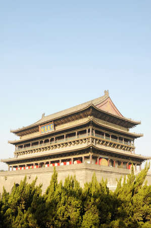 chinese drum: Landmark of the famous ancient Drum Tower in Xian China