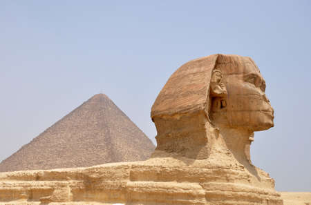 Landmark of the famous ancient Sphinx in front of the pyramid Giza in Cairo,Egypt photo