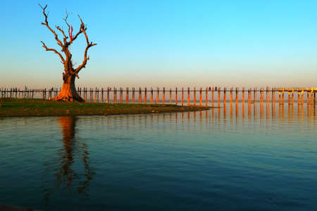 Landscape of the famous old wooden bridge named U Bein in Mandalay,Myanmar