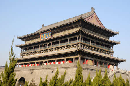 chinese drum: Landmark of the famous historic Drum Tower in Xian China