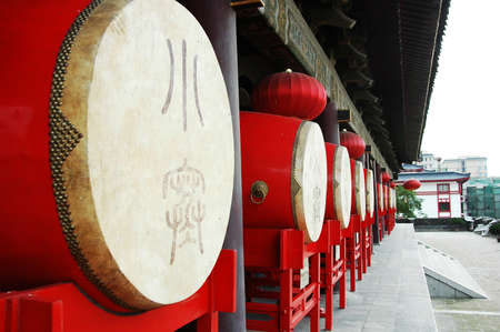 chinese drum: Row of Chinese traditional drums at the Drum Tower in Xian Stock Photo