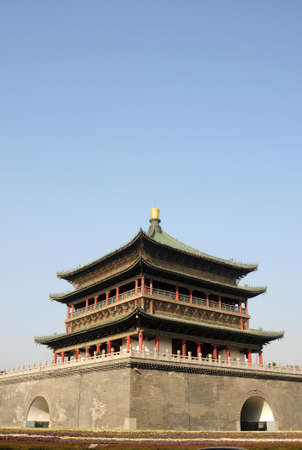 bell tower: Landmark of the famous historic Bell Tower in Xian China Stock Photo