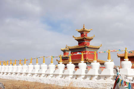Golden historic Tibetan lamasery with a row of white stupa photo