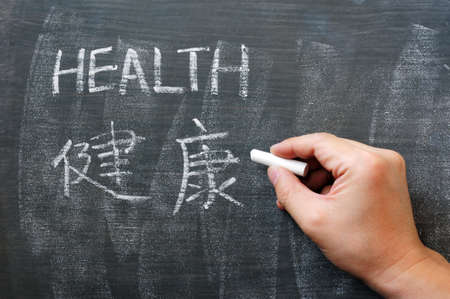 Health - word written on a blackboard with a Chinese version photo