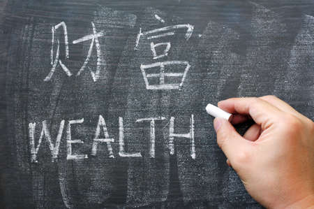 Wealth - word written on a smudged blackboard with a Chinese version photo