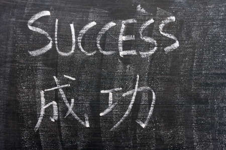 Success - word written with chalk on a blackboard with a Chinese translation photo
