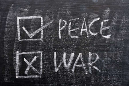 no war: Peace and war with check boxes, written on a smudged blackboard
