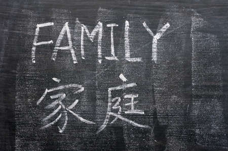 Family - word written on a smudged blackboard with a Chinese translation photo