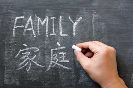 Family - word written on a blackboard with a Chinese translation photo