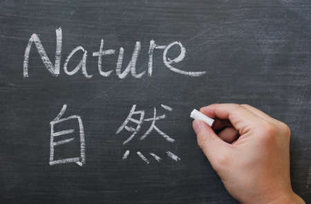 Nature - word written on a smudged blackboard with a Chinese translation, with a hand holding chalk photo