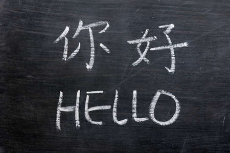 Hello - word written on a smudged blackboard with a Chinese tranlation photo