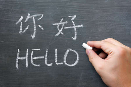 Hello - word written on a smudged blackboard with a Chinese tranlation,with a hand holding chalk Standard-Bild