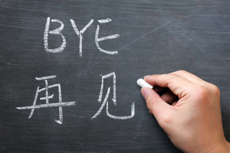 Bye- word written on a smudged blackboard with a Chinese translation, with a hand holding chalk photo