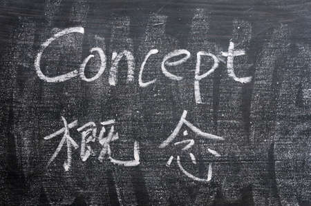 Concept - word written on a smudged blackboard with a Chinese translation photo