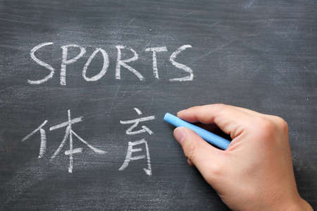 Sports - word written on a smudged blackboard with a Chinese translation,with a hand holding chalk writing photo