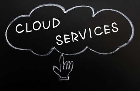Cloud services with a hand cursor drawn in chalk on a blackboard photo