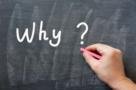 Why - written on a smudged chalkboard with chalk Stock Photo - 14014583