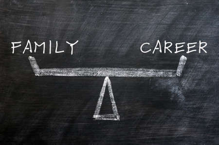 Balance of family and career - concept drawn with chalk on a smudged blackboard photo