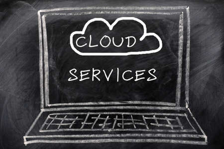 Cloud service - concept drawn with white chalk on a blackboard background photo
