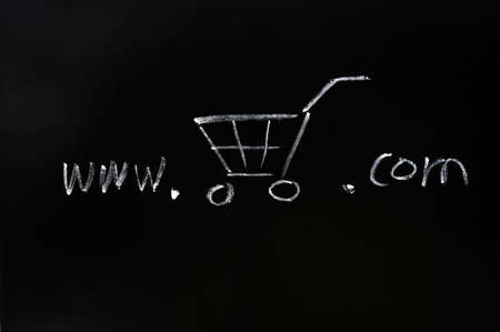 detriment: Online shopping concept drawn with chalk on a blackboard