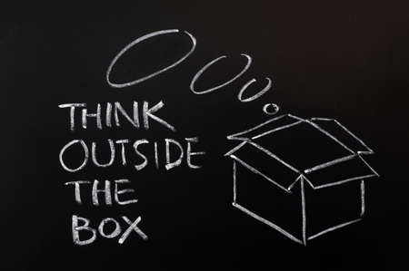 Concept of Think Outside the box drawn with chalk on a blackboard  photo