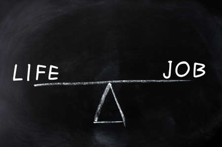 Balance of life and job - concept drawn on a blackboard photo