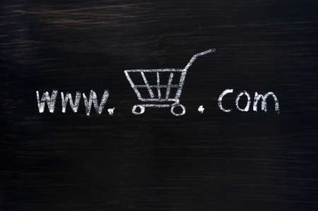 detriment: On-line shopping concept drawn with chalk on a blackboard